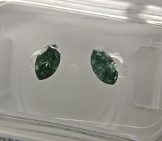 Lot of 2 Marquise cut diamonds total 0.46 ct Fancy Deep Greenish Blue SI2-SI3