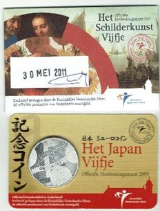 The Netherlands - 5 Euro 2009 Japan and 5 Art of Painting in coin cards - 1st day issue
