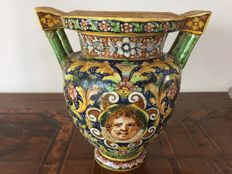 Del Minghetti - Polychrome and gold vase, Minghetti school