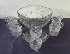 Vintage glass punch bowl set - 12 cups and one large scale: 5 litres