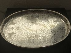 Vintage silver plated on copper oval Galery tray , Viners of Sheffield England. Second half of 19th century.