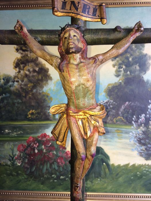 Large and rare polychrome carved wood Crucifix - colonial school - XVIII century