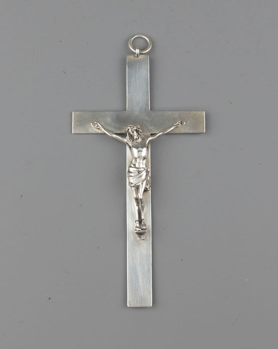 Antique solid silver pendant cross with Christ figure France or Belgium - circa 1900