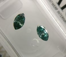 Lot of 2 Marquise cut diamond total 0.60 ct Fancy Deep Bluish Green SI1