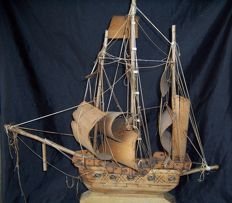 Old weathered, craft wood, ship model, 50 x 49 x 7 cm.