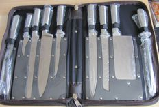 Stainless steel knife set - 9 pieces handcrafted stainless steel in leather bag - ideal for camping, caravans, or any kitchen - mint condition - top quality