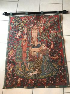 "Large tapestry in medieval style on the theme ""Le Roman de la Rose"" by Anne Aknin for the Franklin coin collection, France, around 1985"