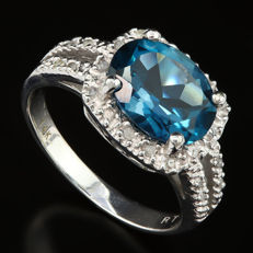 Gold  ring with  London Blue Topaz - US 7