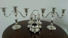 William Hutton and sons 1800/1832  shefield silver plated condiment set 3 piece with stand. And 2 candlestick silver plated.