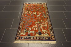 Old Persian carpet, Qom, tree of life with animals, made in Iran