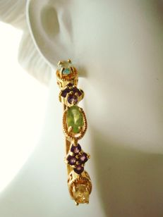 Vintage (1970s) - 12K yellow Gold filled large hoop Earrings with natural Gemstones - Excellent