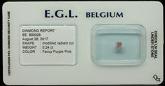 0.24 ct Certified Fancy Purple Pink Diamond  - NO RESERVE