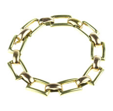 14 kt bicolour-gold link bracelet for ladies - sturdily made - length: 19 cm