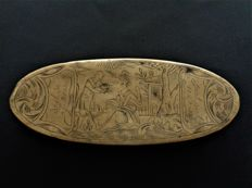 Brass copper tobacco box with depiction of a marriage proposal - L 555 mm