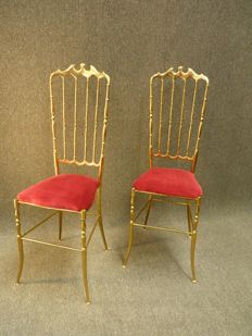 Giuseppe Gaetano Descalzi by Chiavari - Vintage Brass chairs, set of two