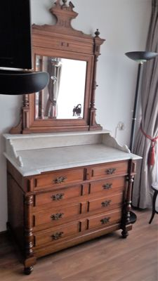 Beautiful 19th century oak toilet dresser with marble top and mirror part - Belgium - 19th century