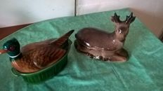 2 animal terrine dishes