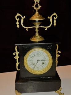 Beautiful fireplace clock, black marble Napoleon III - France, brand Boulay - period 19th century, stamp No.