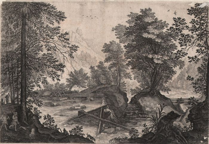 Pieter Stevens II ( 1567- 1624 ) engraved by  Aegidius Sadeler (1570-1629 ) - Landscape with Hunters near  Waterfall - Ca. 1600