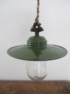 Industrial lamp with green enamel shade and glass bell jar
