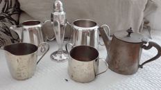 Set of 6 tableware items: milk jug and sugar bowl, salt shaker and tea pot, Sheffield and German silver