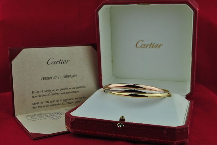 CARTIER Trinity Tricolor Bracelet made of 750/18k Yellow, Pink & White Gold - Comes with Box and Official Cartier Certificate - Diameter of bracelet rings +/- 65mm