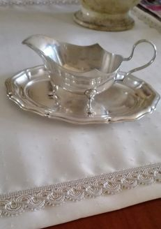 Antique English Sheffield silver plated gravy boat with tray