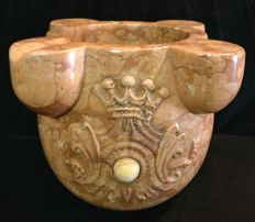 Verona Red marble mortar with a central hard stone inlay - Italy, 20th / 21th century