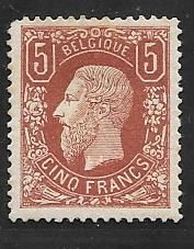 Belgium 1869 – King Leopold II with profile facing left – OBP 37