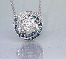 Pendant with Fancy Intense blue diamond & white diamond, 0.50 ct in total