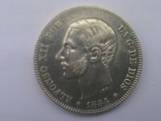 Spain - Alfonso XII - 2 pesetas in silver - 1884 - Madrid