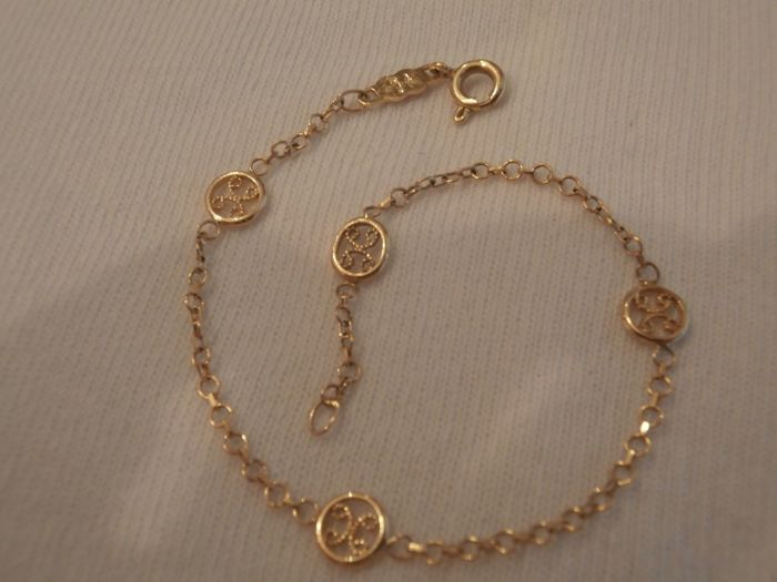 Women's bracelet with beautiful embellishments, in 18 kt gold - no reserve price