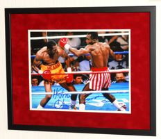 Sugar Ray Leonard AND Thomas 'Hitman' Hearns original DOUBLE signed photo - Premium Framed + Certificate of Authenticity