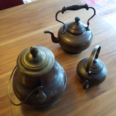 Red with yellow copper covered pot, red copper kettles