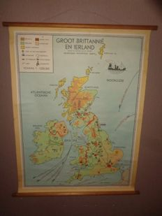 "Old school poster/map/school board of ""Great Britain and Ireland"" Bakker and Rusch, with sheep, cattle shed, coal, textile, etc."