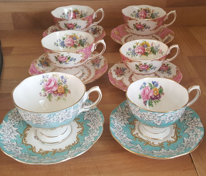 Early set of 6 Royal Albert Cups and saucers