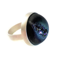 Handcrafted Designer Sterling Silver Ring with Electroplated Druzy Agate.