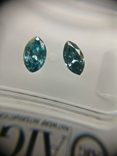 Lot of 2 Marquise cut diamond total 0.63 ct Fancy Deep Greenish Blue SI1-I1