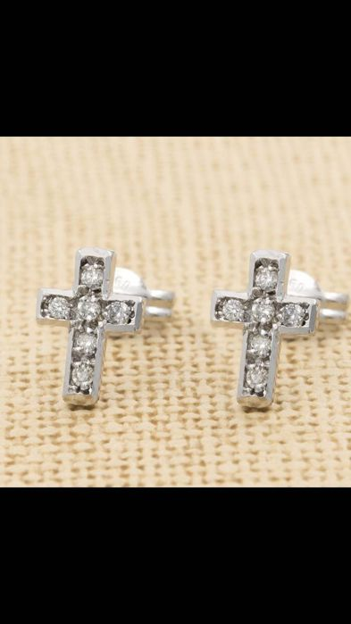18 kt gold earrings in the shape of a crucifix with diamonds for 0.25 ct - height: 1 cm