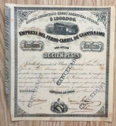 Cuba - Empresa del ferro-carril de Guantanamo, Lot of 2 Share certiifcates 1882 + 1877