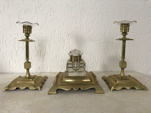 Beautiful bronze desk set; inkwell and two candlesticks - France - 1st half 20th century