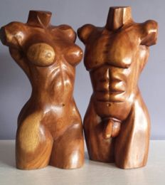 Sculpture; Set of 2 torsos: man & woman - late 20th century