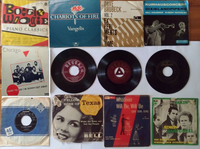 Lot of 12 records 45 RPM, including Rock & Roll, Jazz, Boogie Woogie, Pop and 2 verry rare records from 1955 and 1956 + 3 bonus records