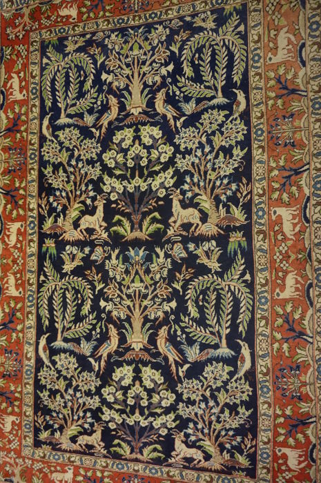 Old Persian carpet, Qom, tree of life with animals, made in Iran 150 x 220 cm