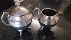 Creamer set sugar pot and milk can. Marked.  Silver coloured 3 piece.