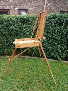 Old painter's travelling easel with built-in drawer - c. 1970 - folding model - precious wood