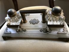 Brass and onyx inkstand, circa 1890