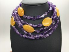Necklace with amethysts and citrines semi preciuos natural gemstones 14K/585 yellow gold details – Length 155cm