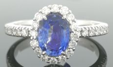 Diamond ring with exclusive sapphire of 1.10 ct & 30 diamonds of 0.50 ct in total