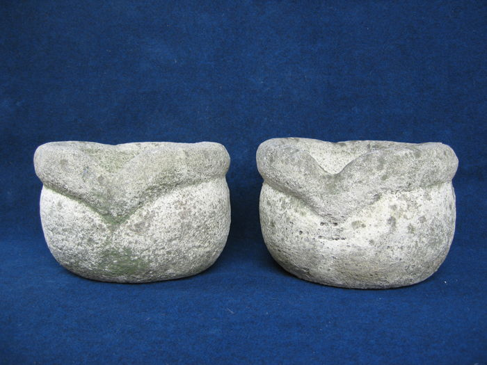 Pair of jardinières in mixture of grit dust - Italy - second half of the 20th century
